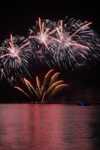 colorful huge fireworks display and reflection.