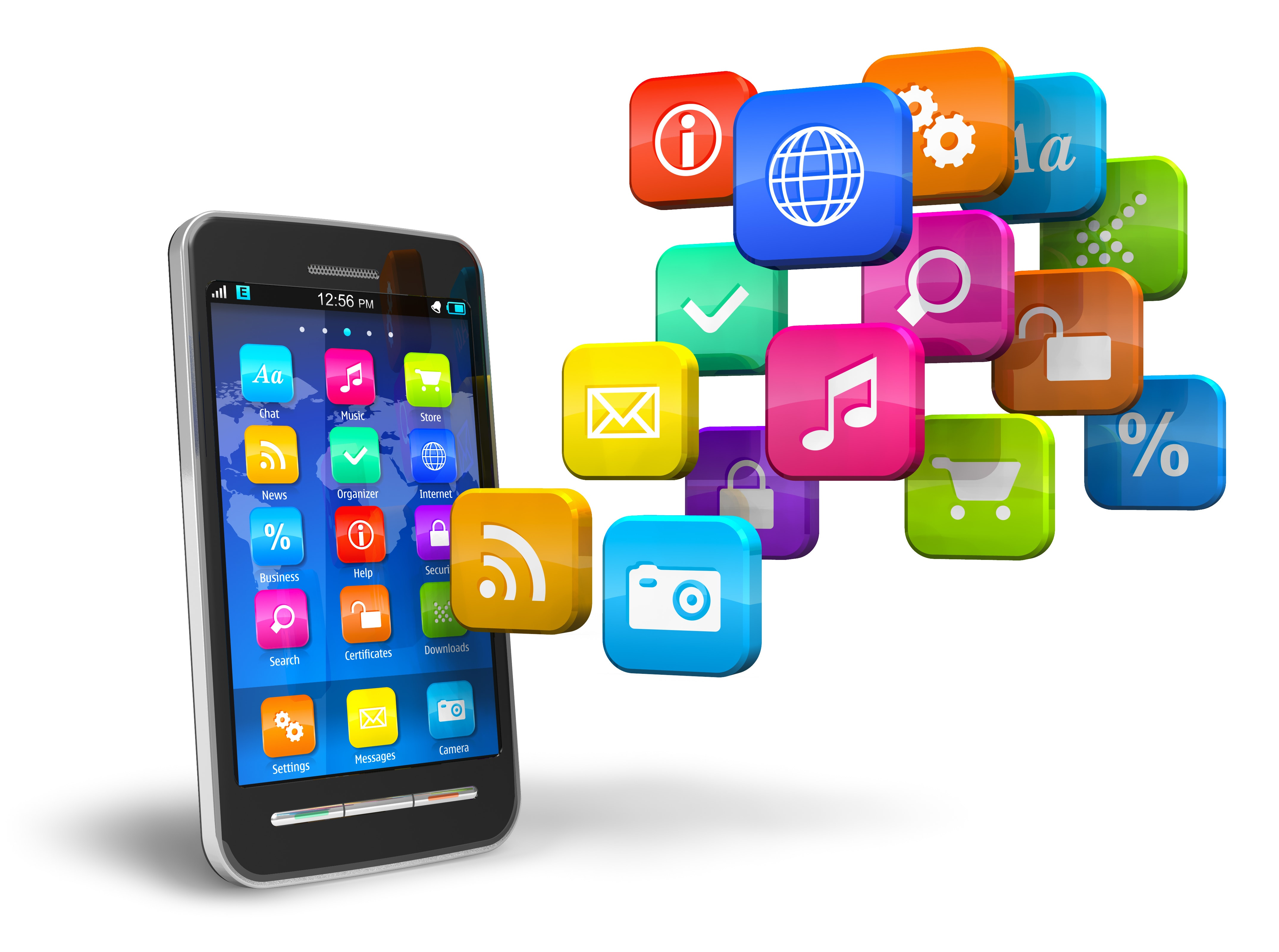 smartphone with cloud of apps