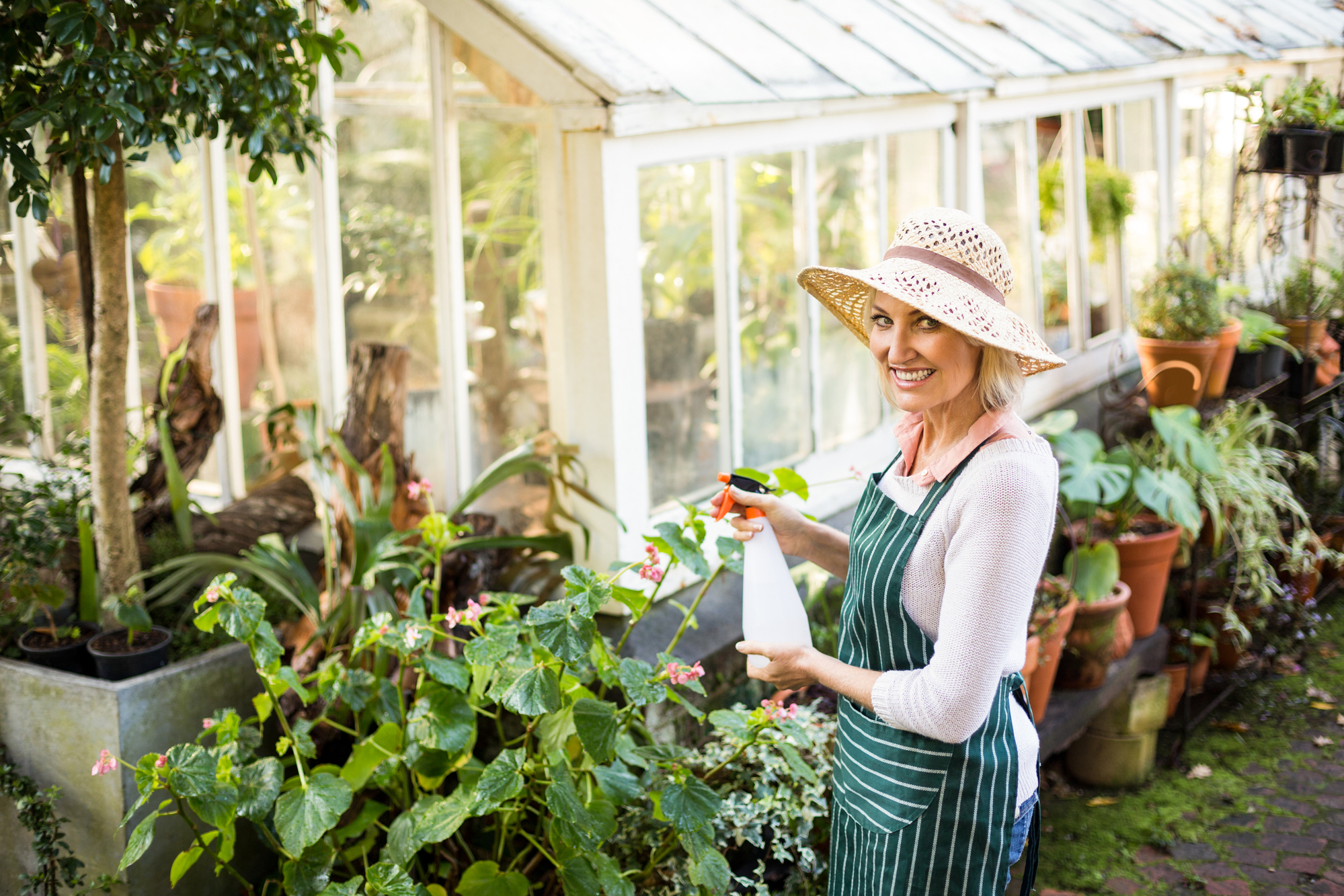 Portrait of happy female gardener watering plants outside greenhouse