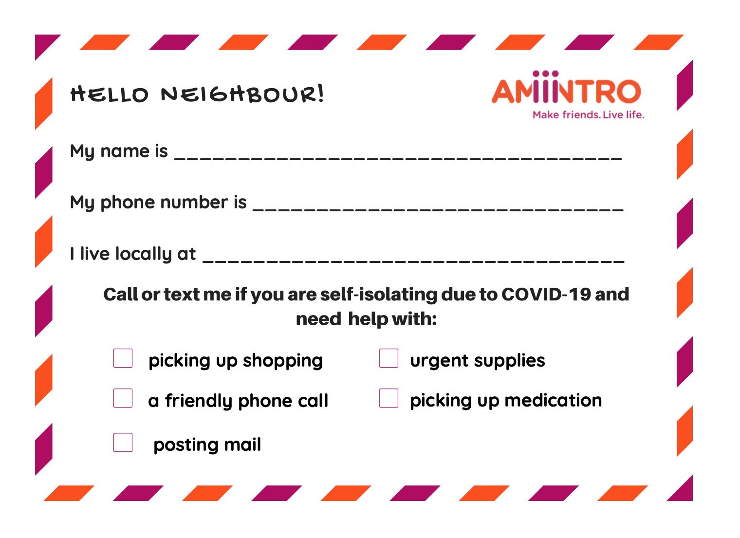 good neighbor note card
