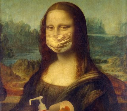 covid grief image of mona lisa with mask